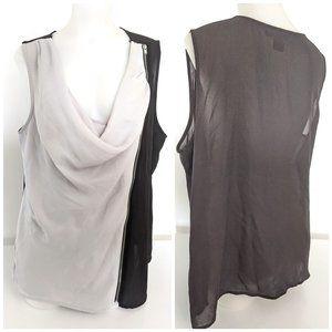 Light Gray & Black Chic Working Camisole Top W/ Zipper Sz L, NWOT